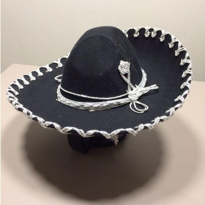 mexitheque - Sombrero - Charro - Noir - Blanc - Petit
